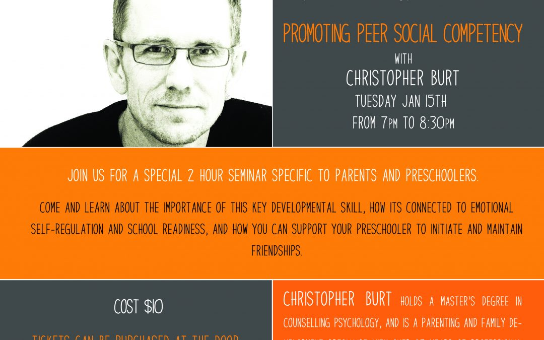 January 15 @7pm, Christopher Burt – Promoting Peer Social Competency